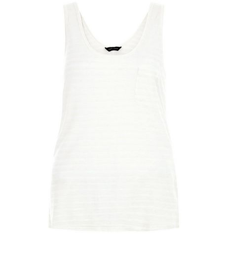 White Stripe Single Pocket Vest  | New Look