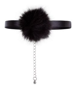 Black Pom Pom Choker  | New Look
