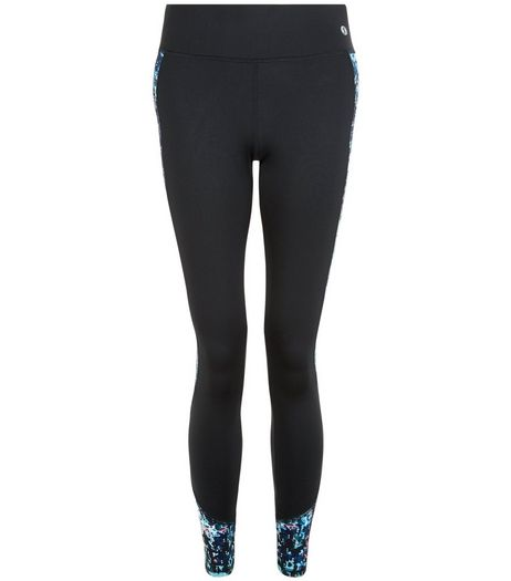 Black Abstract Print Panel Sports Leggings  | New Look