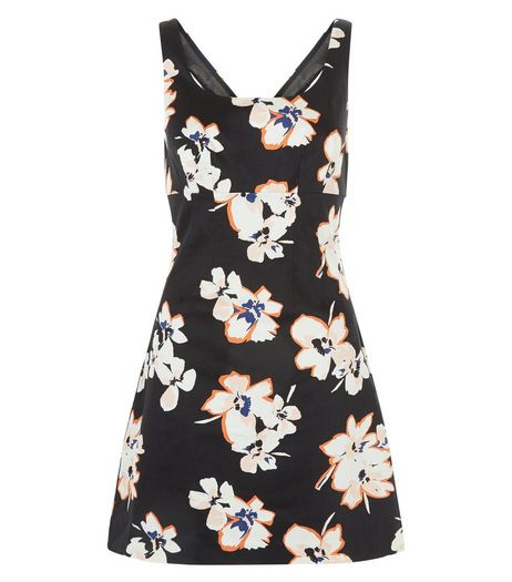 Black Floral Print A-Line Shift Dress  | New Look