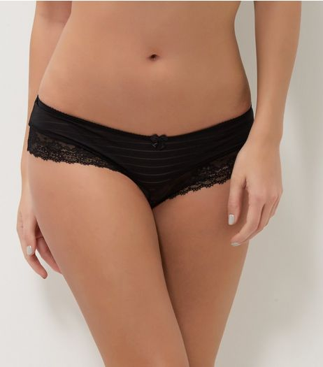 Black Stripe Lace Leg Briefs | New Look