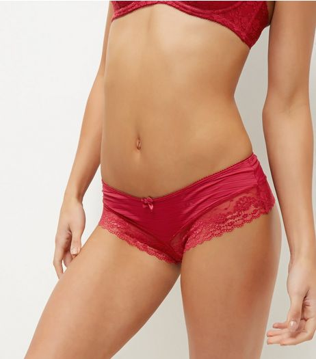 Dark Red Stripe Lace Leg Briefs | New Look