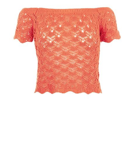 Bright Orange Crochet Bardot Neck Top  | New Look