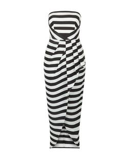 Monochrome Stripe Bandeau Wrap Front Dress | New Look