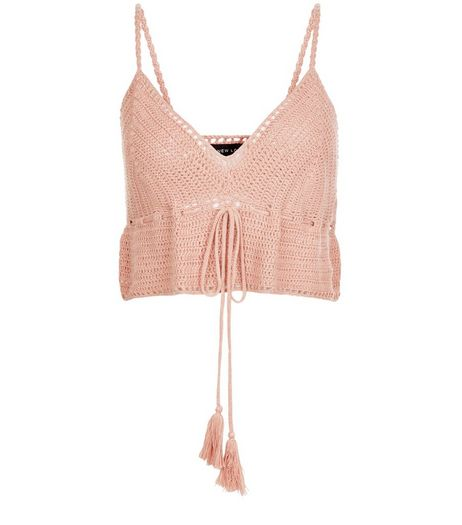 Mid Pink Crochet Crop Top | New Look