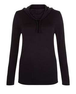Black Cowl Neck Seam Free Sports Jumper  | New Look