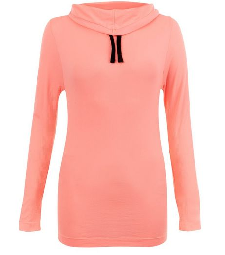 Coral Cowl Neck Seamless Sports Jumper  | New Look