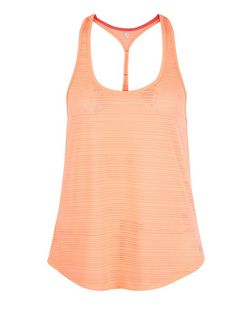 Coral Burnout Stripe Sports Vest  | New Look