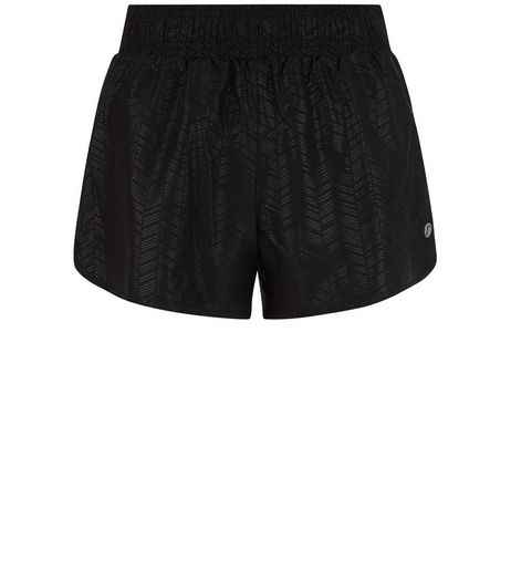 Black Woven Chevron Print Sports Shorts  | New Look