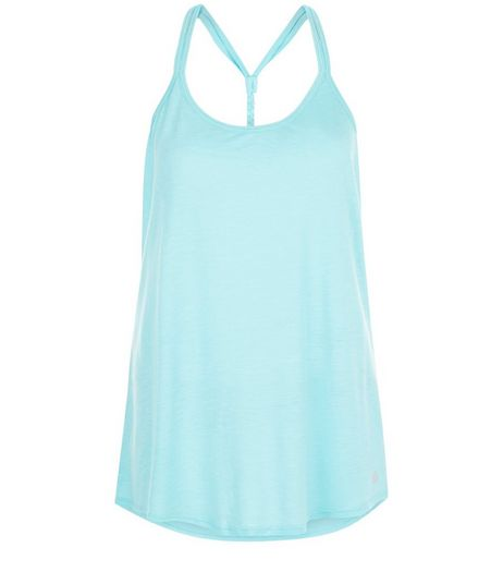 Mint Green Plaited Back Slub Yoga Sports Vest  | New Look