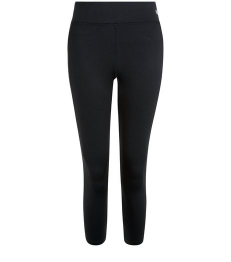 Black Chevron Panel Cropped Leggings  | New Look