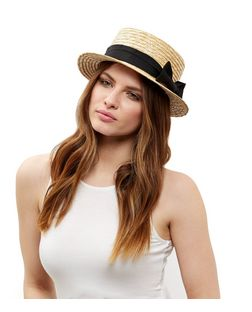 Stone Bow Trim Boater Hat | New Look