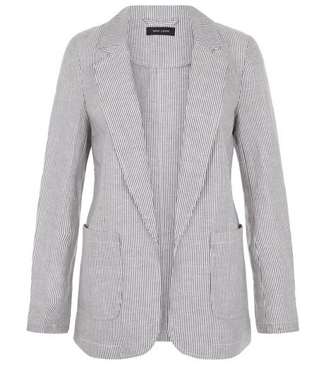 Blue Linen Mix Stripe Patch Pocket Blazer  | New Look