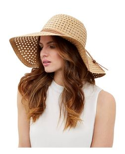 Stone Suedette Trim Floppy Hat | New Look