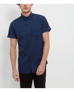 Blue Mini Geo Print Single Pocket Roll Sleeve Shirt  | New Look