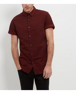 Red Mini Geo Print Single Pocket Roll Sleeve Shirt  | New Look