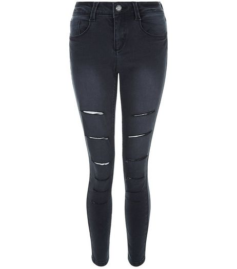 Teens Black Washed Ripped Knee Skinny Jeans | New Look