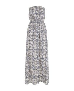 Blue Tile Print Bandeau Maxi Dress | New Look