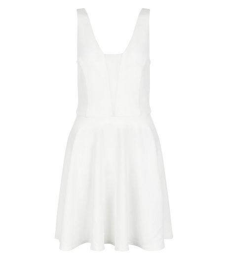 Cream Mesh Panel Skater Dress  | New Look