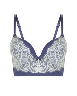 Blue Contrast Lace Boost Longline Bra | New Look