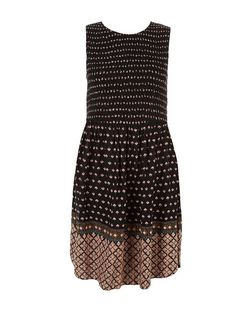 Black Abstract Print Shirred Waist Sleeveless Dress  | New Look