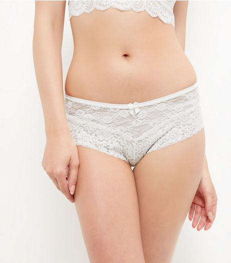 Cream Lace Leg Brazilian Briefs | New Look