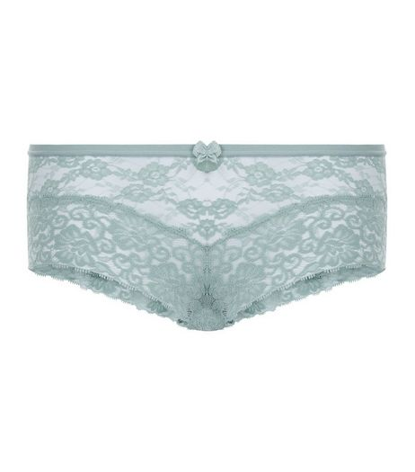 Mint Green Lace Leg Brazilian Briefs | New Look