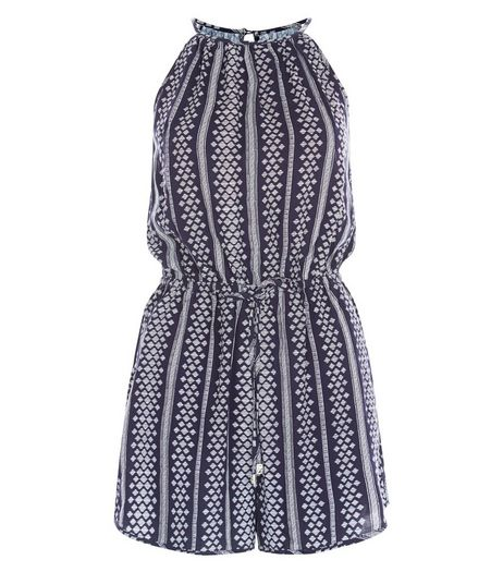 Blue Geo Stripe High Neck Playsuit  | New Look