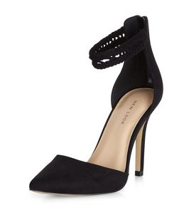 Black Suedette Woven Ankle Strap Pointed Heels  | New Look