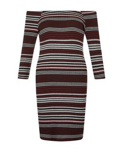 Red Stripe Bardot Neck Bodycon Mini Dress  | New Look