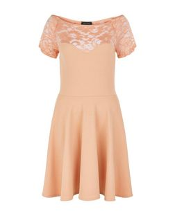 Coral Lace Panel Bardot Neck Skater Dress  | New Look