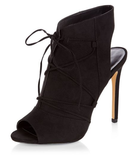 Black Suedette Lace Up Heeled Boots | New Look
