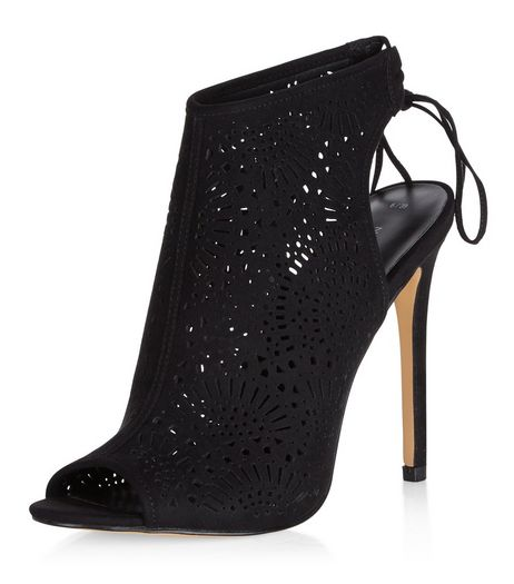 Black Suedette Laser Cut Out Peep Toe Heels  | New Look