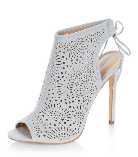 Pale Blue Suedette Laser Cut Out Peep Toe Heels | New Look