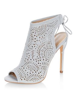 Pale Blue Suedette Laser Cut Out Peeptoe Heels | New Look