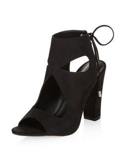 Black Cut Out Tie Back Block Heels  | New Look