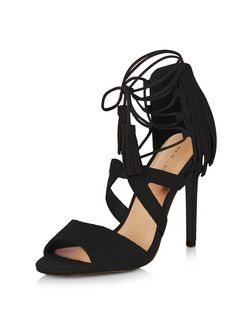 Black Suede Fringed Ghille Heels  | New Look