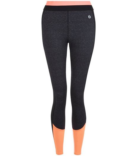 Coral Colour Block Sports Leggings  | New Look