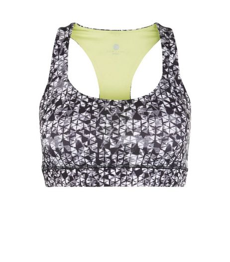 Black Geo Print Padded Sports Crop Top  | New Look