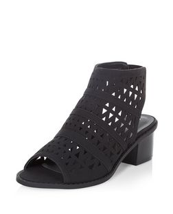 Black Laser Cut Out Peep Toe Sandals  | New Look