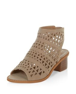 Light Brown Laser Cut Out Peep Toe Sandals  | New Look