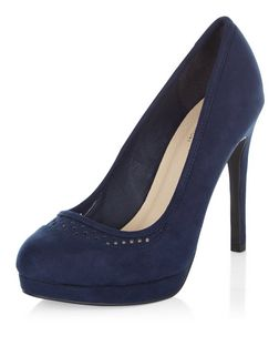 Navy Comfort Suedette Perforated Trim Platform Heels  | New Look