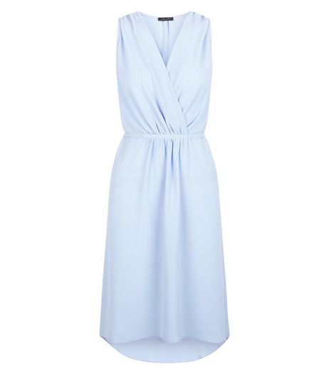 Pale Blue Tie Waist Wrap Sleeveless Dress | New Look