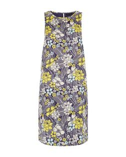 Blue Floral Print Sleeveless Tunic Dress  | New Look