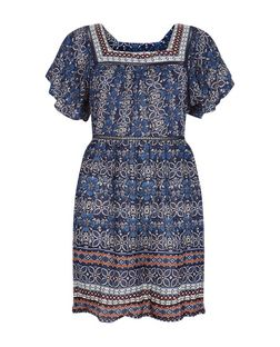 Blue Floral Abstract Print Smock Dress  | New Look