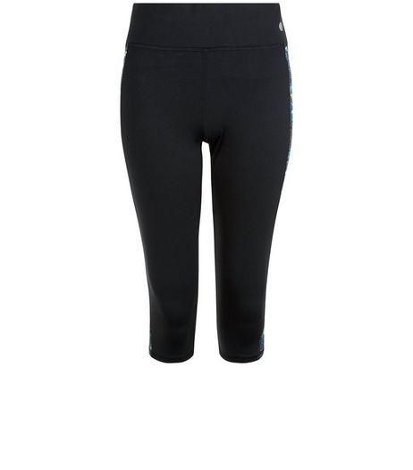 Black Space Dye Panel Cropped Sports Leggings  | New Look