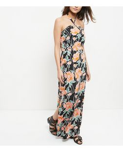 Black Floral Print Halter Neck Split Side Maxi Dress  | New Look