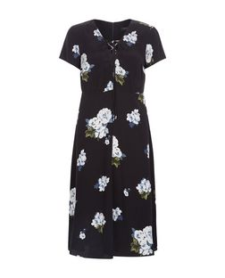 Black Floral Print Lace Up Midi Dress  | New Look