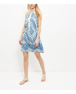 White Abstract Print Lace Trim Strappy Dress  | New Look