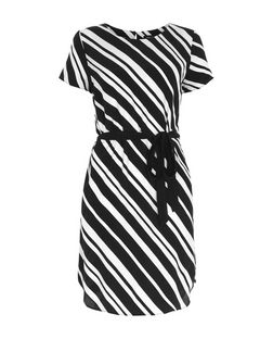 Black Diagonal Stripe Tie Waist Tunic Dress  | New Look
